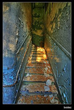 Staircase, Miranda Castle or Chateau Miranda or Chateau de Noisy <3 the colors!