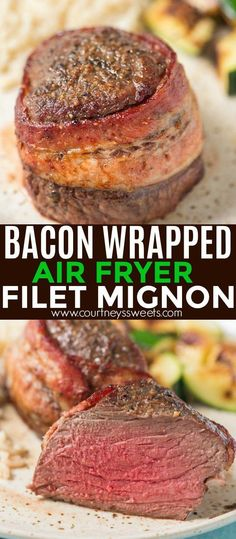 This bacon wrapped filet mignon will wow your dinner guests. Nicely seared on th… This bacon wrapped filet mignon will wow your dinner guests. Nicely seared on the outside with a beautiful pink inside on this air fryer filet mignon with bacon! Air Fryer Recipes Snacks, Air Fryer Recipes Low Carb, Air Frier Recipes, Air Fryer Recipes Breakfast, Air Fryer Dinner Recipes, Air Fryer Recipes Steak, Air Fryer Recipes Potatoes, Avocado Dessert, Keto