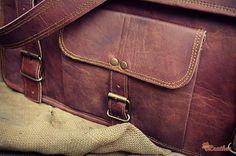 """Leather Briefcase 18"""" / Vintage Leather Messenger Bag / Handbag / Satchel / Hip Bag / Shoulder Bag / Carry Bag / Cabin Travel Bag / Laptop"""