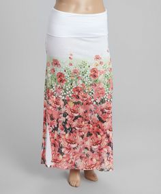Green & Pink Floral Maxi Skirt - Plus