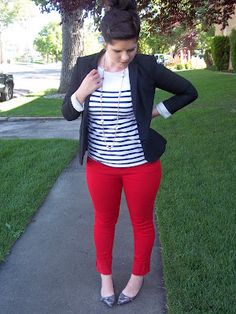 red pants + blazer