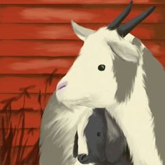 Oopsy Daisy's Maggie's Goats Canvas Wall Art, 10x10, Red
