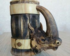 Wooden Tankard Beer Dragon Stein Mug Carved Souvenir Cedar