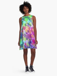 A colorful and unique dress for happy and young women. @redbubble