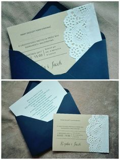 Wedding notifications or invitations lace napkin gold paper navy blue envelope diy handmade