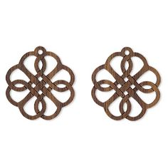 Lightweight laser-cut and -engraved black walnut drops feature incredible detail, with beautiful high-contrast patterns. Ideal for earrings--or for lavishing multiple layers in complex designs. Component backs are covered by easy-peel tape from manufacturing process; remove tape before use.
