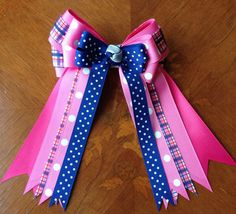 Horse Show Hair Bows  Pink Blue Dots Plaid by BowdanglesShowBows
