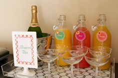 """mimosa bar for baby shower! this is so adorable----- we won't be doing mimosa, but they could make their own """"tropical drink"""""""