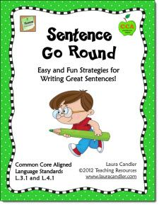 Do your students have trouble writing complete sentences? Sentence Go Round is a simple and fun cooperative learning strategy to teach students how to write longer, more complex sentences. This teaching packet also includes a short review of fragments, run-ons, and complete sentences as well as a quiz. Aligned with CCSS Language Standards L.3.1 and L.4.1  $