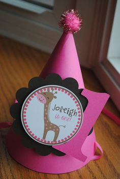 NEW - Pink Giraffe Birthday Party Hat