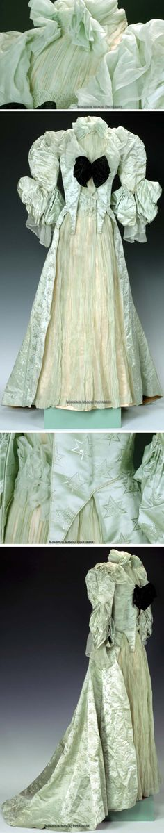 Afternoon dress, Worth, ca. 1890s. Pale green silk. Bought for or by Angelica Gerry. Photos: Richard Walker. Fenimore Art Museum via The Clothing Project/Tumblr
