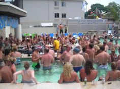 Party at the bar in the pool at Put in Bay