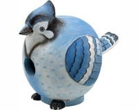 Blue Jay Gord O Bird House. One of our most popular bird houses is this flashy blue jay. You will be the envy of the neighborhood with him in your yard. Blue Jay bird house is hand carved from renewable albesia wood, then hand painted using safe, non toxic paint, followed up with a final coat of polyurethane to create a safe, long lasting bird house.
