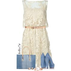 Denim & Lace Dress by kelley74 on Polyvore featuring Alice + Olivia, Charlotte Olympia, Diesel, Michael Kors and Forever 21