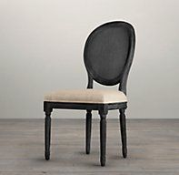 RH's Vintage French Round Cane Back Fabric Side Chair:We've reproduced the classic Louis XVI dining chair with a light and airy caned back, a version of the chair popular during the French colonial period. Updated in relaxed fabrics and casual finishes, our chair features a linear form, nuanced carving and scrollwork, and tapered legs.