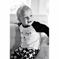 Cub face black and white long sleeve kid's raglan – LittleScoutsCo