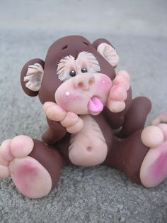 Polymer clay monkey CLAYKEEPSAKES