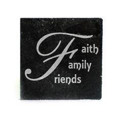 Black Granite Coasters (set of 4) - Faith Family Friends