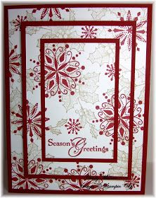 """Discover Stamping: Triple Layer Christmas  Red paper (mat) 2-1/4"""" x 3-1/2"""", 3-1/4"""" x 4-1/2"""", 5-1/2"""" x 8-1/2"""" (fold for card base)  Stamped or pattern paper 2"""" x 3-1/4"""", 3"""" x 4-1/4"""", 4"""" x 5-1/4"""""""