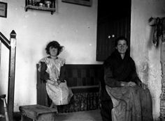 Woman and girl in house interior, Blasket Islands, Co. Kerry, Ireland