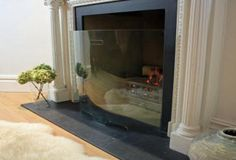 Curved glass fire guard 75cm H x 86 cm W - super expensive tho, £415