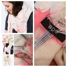 """Urban Outfitters Neon Pink Oversized Square Scarf Urban Outfitters BDG Neon Pink/Cream Plaid Oversized Square Scarf. 95% Cotton/5% Polyester. Cream/Neon Pink/Black. 48"""" x 48"""". Urban Outfitters Accessories Scarves & Wraps"""