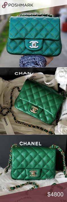 afaad31cc3ba Chanel Bags. See more. Spotted while shopping on Poshmark: CHANEL MINI  SQUARE EMERALD GREEN 2018! #poshmark #
