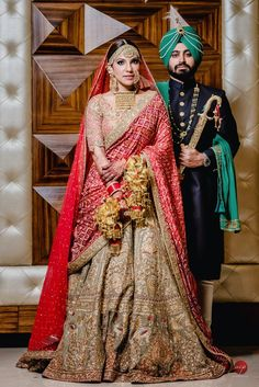 Beautiful Indian bride in a brown heavy embroidered Rimple Harpreet Lehenga with red bandhani leheng