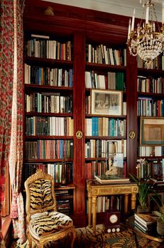 chic library with tiger print chair and carpet