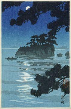 Kawase Hasui (1883-1957): Moon at Matsushima