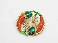 1950s DeNicola Pisces Fish Brooch Book Piece Coral Thermoplastic Green Metallic…