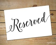 Printable Reserved Signs For Wedding Table Sign Black And White