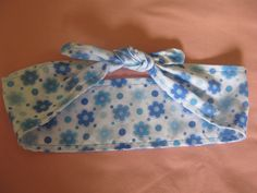 Retro/vintage style white with blue flower print hair by LumeLapin, £4.00
