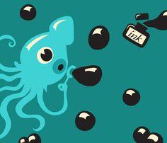 Inky Squid bubbles fabric by irrimiri on Spoonflower - custom fabric