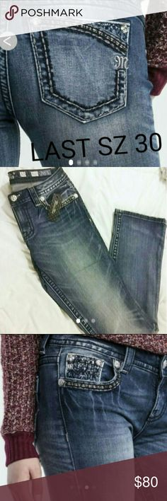 LAST Miss Me jeans bootcut embellished size 30 Super hot new miss me line LAST SIZE 30!!! 30/32 Bootcut style Miss Me brand Beautiful stitching embellishments on pockets My miss mes go fast. They are NWT and authentic.. Check ratings if you would like. I buy in bulk and sell as cheap as I possibly can. Usually half price retail!! Miss Me Jeans