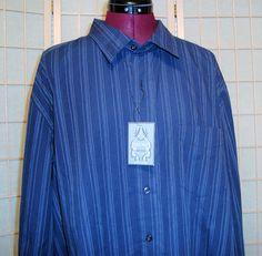 New WT Bruno New York Sz XL Men's Navy Blue Pin Stripe 100% Cotton Dress Shirt #BrunoNewYork