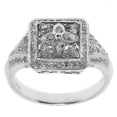 0.45 Cttw Round Diamonds Square Shaped Cocktail Ring 14K White Gold Pave Set #Cocktail #Diamonds #Ring #14K #White #Gold #Sale #Gift #Womans