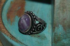 Boho Ring US size 7 Bohemian Ring Amethyst Ring by Sonajewelry