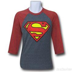 Images of Superman Symbol Grey Baseball T-Shirt