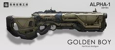 Golden Boy by eddie-mendoza weapon gun future equipment gear magic item | Create your own roleplaying game material w/ RPG Bard: www.rpgbard.com | Writing inspiration for Dungeons and Dragons DND D&D Pathfinder PFRPG Warhammer 40k Star Wars Shadowrun Call of Cthulhu Lord of the Rings LoTR + d20 fantasy science fiction scifi horror design | Not Trusty Sword art: click artwork for source