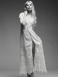 Clothes for Romantic Night - Clothes for Romantic Night - Aurora Gown | As they swayed all night long under the light of the moon she radiated in this romantic lace maxi dress with a plunging V-neckline, statement three-quarter length sleeves and button front closures with gorgeous scalloped trim. Inspired by vintage French lace dusters, this style is perfect for the low key bride that wants to dance the night away. Comes with a stretchy silk slip. - If you are planning an unforgettabl...