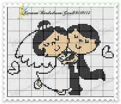 This Pin was discovered by Mih Cross Stitch Family, Cross Stitch Art, Cross Stitch Designs, Cross Stitching, Cross Stitch Embroidery, Wedding Cross Stitch Patterns, Pixel Crochet, Crochet Wedding, Loom Patterns