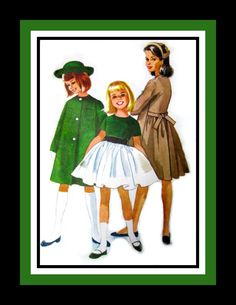 Vintage 1961- Designer Girls Dress Pattern.  My dresses often had matching coats and hats.....