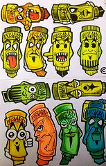 stickers (cholowiz13) Tags: graffiti sticker characters taggers markers blackbook collabs nazer graffitistickers cholowiz13