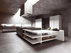 Cocina integral sin empuñaduras ELLE by CESAR ARREDAMENTI | diseño Gian Vittorio Plazzogna