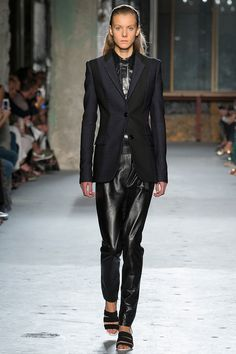 Wear your leather track pants with a blazer. Proenza Schouler Spring 2015.