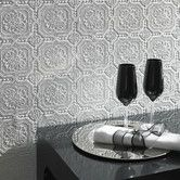 Paintable Damask Embossed Tiles Wallpaper- COLOURING PROJECT! Could make a multicoloured backsplash by painting each tile. Although that's a  lot of work.