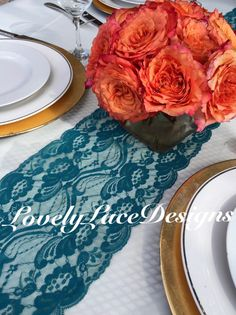"""Wedding Decor/TEAL/GREEN Lace Table Runner, 3ft to 10ft long x 7"""" wide/ Wedding Decor/PEACOCK weddings/ overlay/Weddings ideas/Decoration by LovelyLaceDesigns on Etsy"""