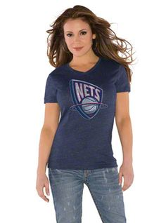 Brooklyn Nets Touch by Alyssa Milano Primary Logo Tri Blend V Neck T-Shirt