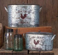 Farm Fresh Bucket with Lid - Set of Two